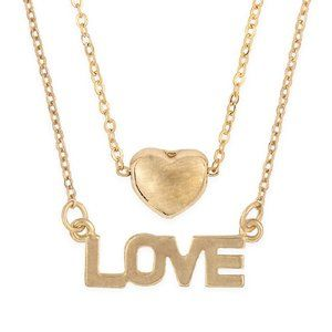 Double Layer Gold Plated Love Necklace NEW